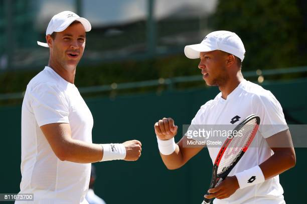 Jay Clarke of Great Britain and Marcus Willis of Great Britain celebrate a point during the Gentlemen's Doubles third round match against Oliver...