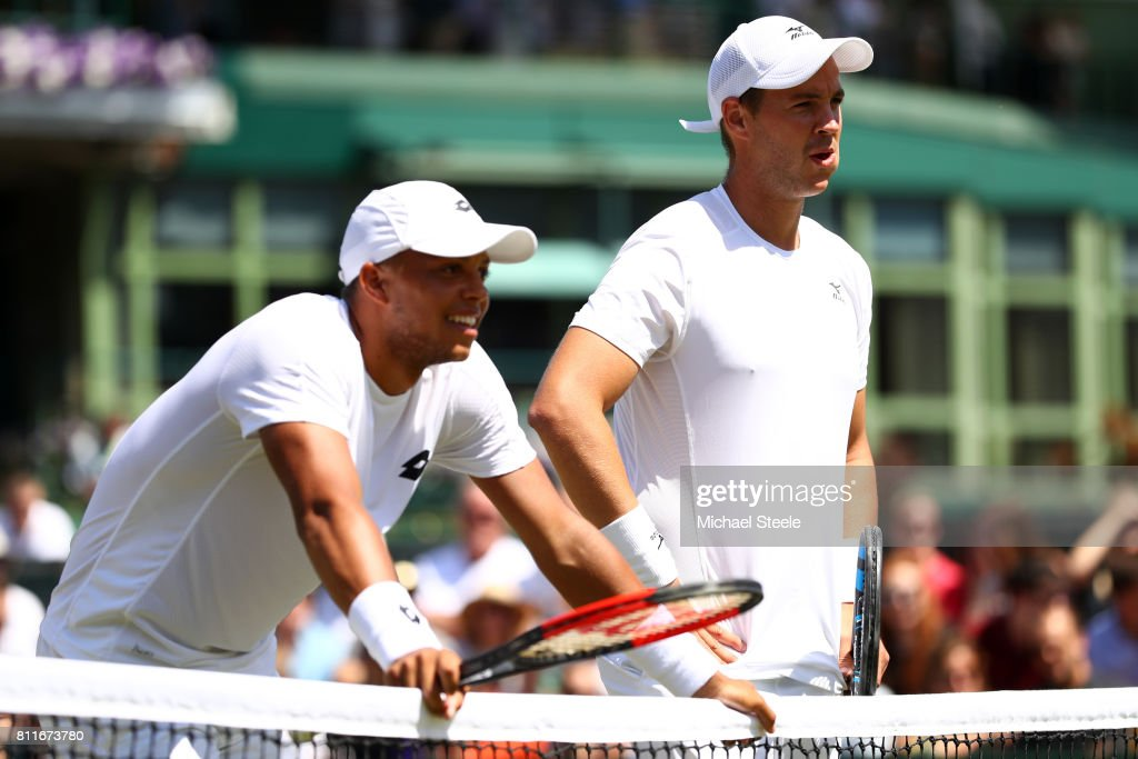 Jay Clarke of Great Britain (L) and Marcus Willis of Great Britain look on during the Gentlemen's Doubles third round match against Oliver Marach of Austria and Mate Pavic of Croatia on day seven of the Wimbledon Lawn Tennis Championships at the All England Lawn Tennis and Croquet Club on July 10, 2017 in London, England.