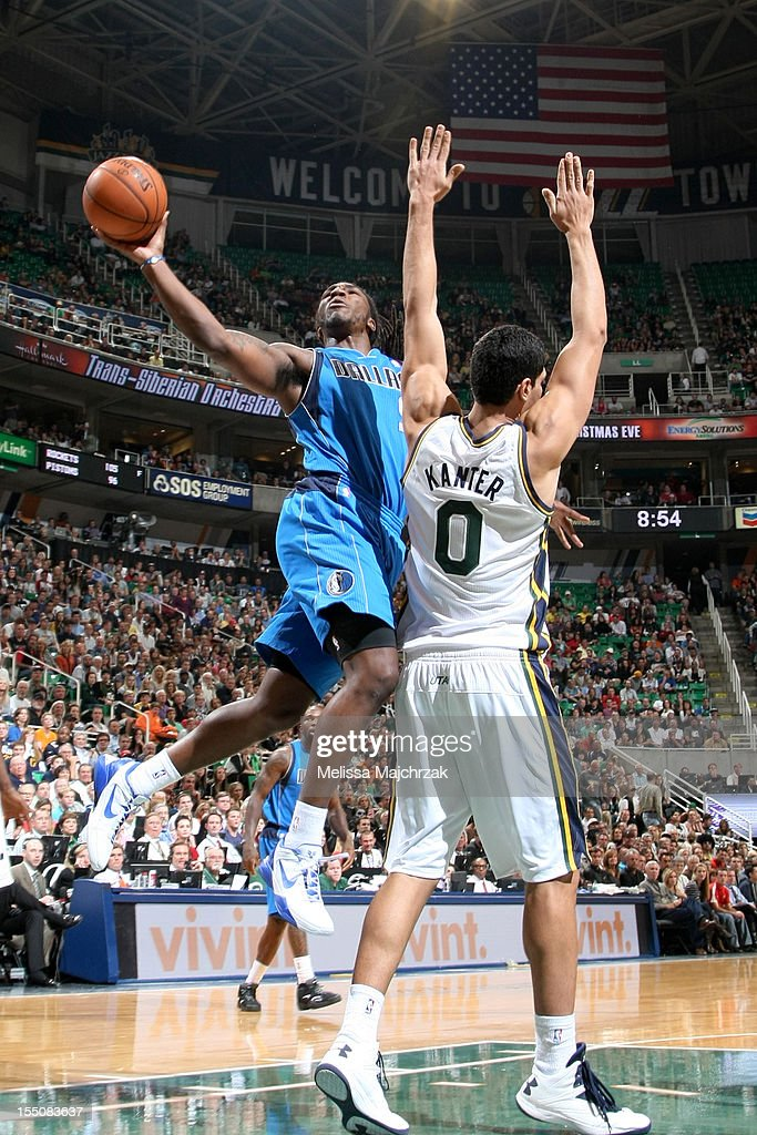 Jay Crowder #9 of the Dallas Mavericks goes to the hoop over <a gi-track='captionPersonalityLinkClicked' href=/galleries/search?phrase=Enes+Kanter&family=editorial&specificpeople=5621416 ng-click='$event.stopPropagation()'>Enes Kanter</a> #0 of the Utah Jazz at Energy Solutions Arena on October 31, 2012 in Salt Lake City, Utah.