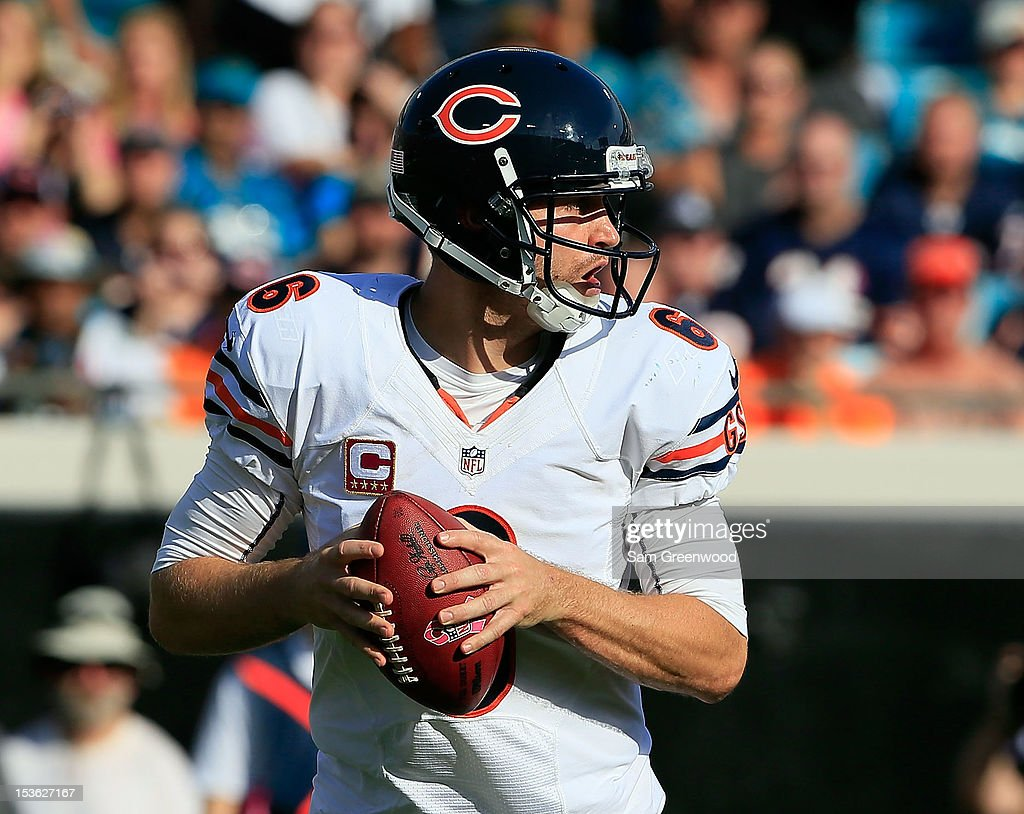 Jay Cutler #6 of the Chicago Bears attempts a pass during the game against the Jacksonville Jaguars at EverBank Field on October 7, 2012 in Jacksonville, Florida.