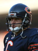 Jay Cutler of the Chicago Bears awaits the start of play against the Arizona Cardinals at Soldier Field on November 8 2009 in Chicago Illinois The...
