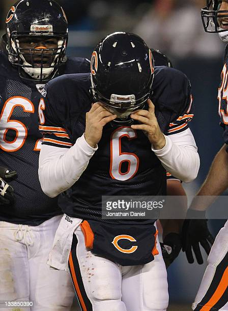 Jay Cutler of the Chicago Bears comes off of the field after scoring a touchdown against the San Diego Chargers at Soldier Field on November 20 2011...