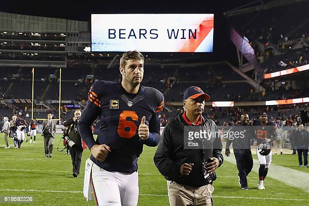 Jay Cutler of the Chicago Bears jogs off the field after the Chicago Bears defeated the Minnesota Vikings 2010 at Soldier Field on October 31 2016 in...
