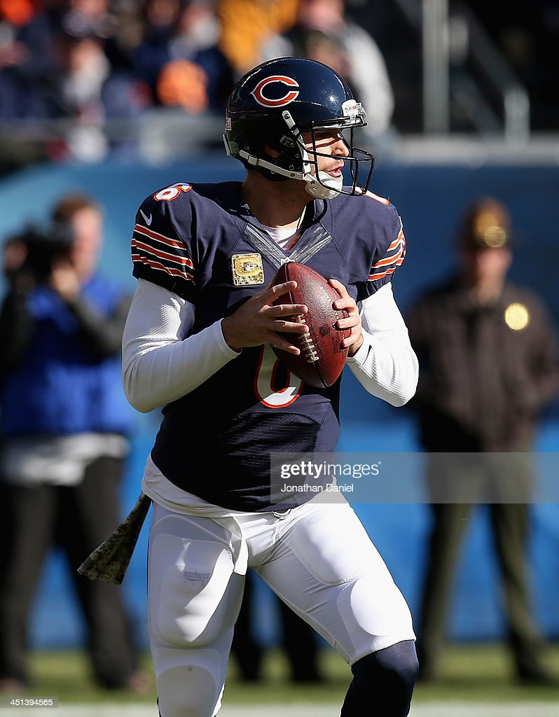 <a gi-track='captionPersonalityLinkClicked' href=/galleries/search?phrase=Jay+Cutler&family=editorial&specificpeople=622249 ng-click='$event.stopPropagation()'>Jay Cutler</a> #6 of the Chicago Bears looks for a receiver against the Detroit Lions at Soldier Field on November 10, 2013 in Chicago, Illinois. The Lions defeated the Bears 21-19.