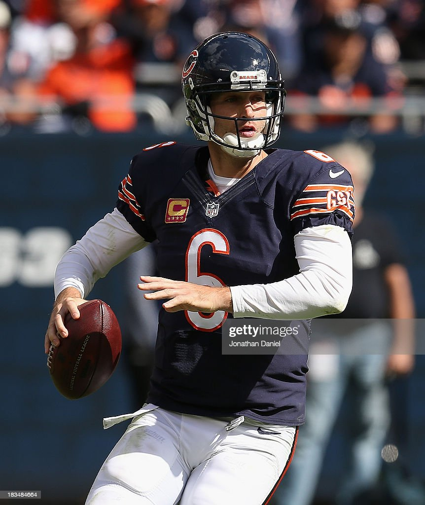 <a gi-track='captionPersonalityLinkClicked' href=/galleries/search?phrase=Jay+Cutler&family=editorial&specificpeople=622249 ng-click='$event.stopPropagation()'>Jay Cutler</a> #6 of the Chicago Bears looks for a receiver against the New Orleans Saints at Soldier Field on October 6, 2013 in Chicago, Illinois. The Saints defeated the Bears 26-18.