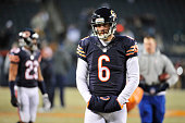Jay Cutler of the Chicago Bears on the field during warmups before a game against the Dallas Cowboys at Soldier Field on December 4 2014 in Chicago...