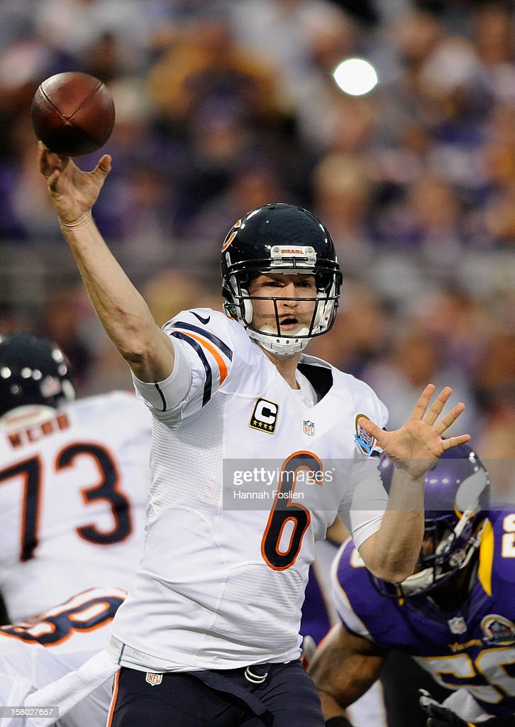 Jay Cutler #6 of the Chicago Bears pass the ball during the first quarter of the game against the Minnesota Vikings on December 9, 2012 at Mall of America Field at the Hubert H. Humphrey Metrodome in Minneapolis, Minnesota.