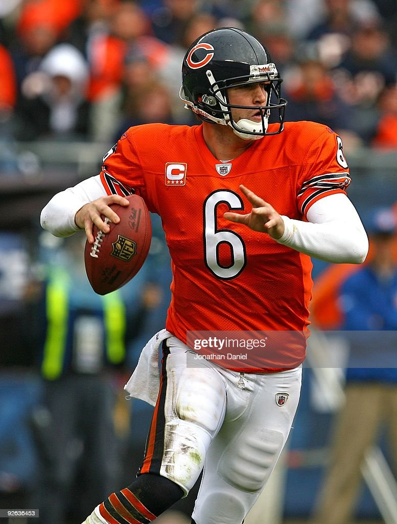 Jay Cutler of the Chicago Bears prepares to throw a pass during a game against the Cleveland Browns at Soldier Field on November 1 2009 in Chicago...
