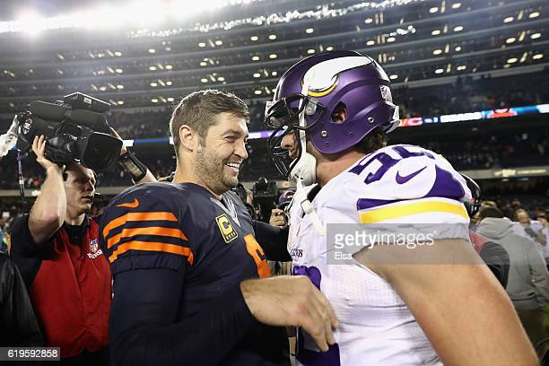 Jay Cutler of the Chicago Bears talks to Chad Greenway of the Minnesota Vikings after the Chicago Bears defeated the Minnesota Vikings 2010 at...
