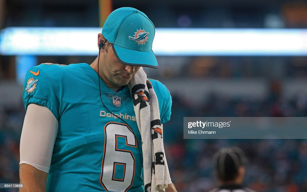 Jay Cutler #6 of the Miami Dolphins looks on during a preseason game against the Baltimore Ravens at Hard Rock Stadium on August 17, 2017 in Miami Gardens, Florida.