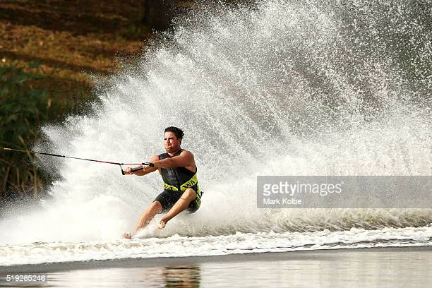 Jay Daniels of Western Australia competes in the mens 2 slalom event during the 2016 Australian Barefoot Championships at the NSW Barefoot Water Ski...