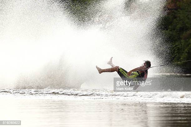 Jay Daniels of Western Australia falls as he competes in the mens 2 slalom event during the 2016 Australian Barefoot Championships at the NSW...