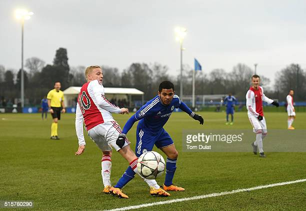 Jay DaSilva of Chelsea and Donny van de Beek of Ajax in action during the UEFA Youth League quarter final match between Chelsea and Ajax at Chelsea...