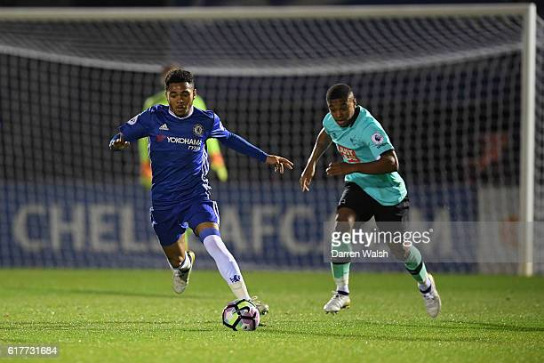 Jay Dasilva of Chelsea and Kyron Stabana of Derby County during a Premier League 2 match between Chelsea and Derby County at The EBB Stadium on...