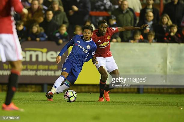 Jay Dasilva of Chelsea and Matthew Olosunde of Manchester United during a Premier League 2 match between Chelsea and Manchester United at the EBB...