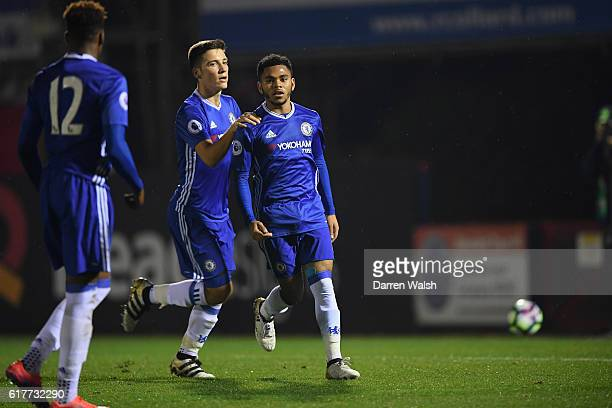 Jay Dasilva of Chelsea celebrates his goal during a Premier League 2 match between Chelsea and Derby County at The EBB Stadium on October 24 2016 in...