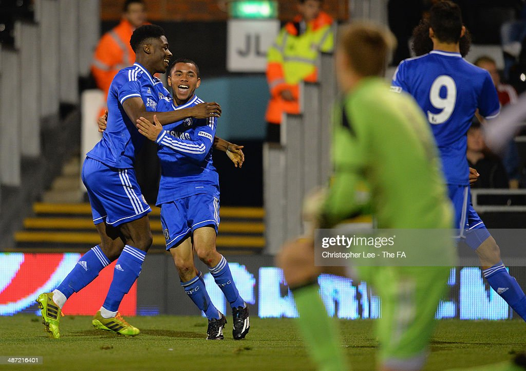 Jay Dasilva of Chelsea is mobbed by his team mates after he scores their first goal during the FA Youth Cup Final First Leg match between Fulham U18 and Chelsea U18 at Craven Cottage on April 28, 2014 in London, England.