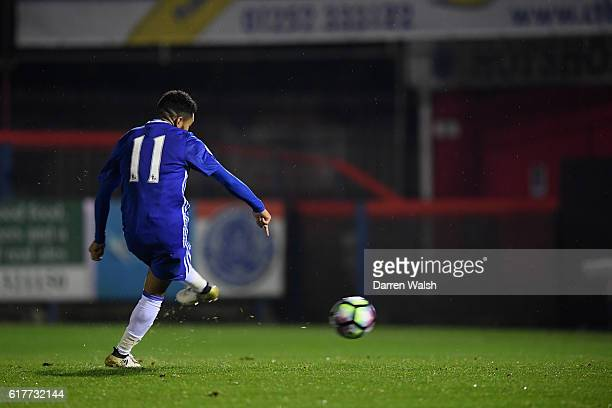 Jay Dasilva of Chelsea scores his goal during a Premier League 2 match between Chelsea and Derby County at The EBB Stadium on October 24 2016 in...