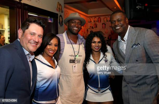 Jay DeMarcus Chris Spencer and Kevin Carter pose with Tennessee Titans Cheerleaders during the 16th Annual Waiting for Wishes Celebrity Dinner Hosted...