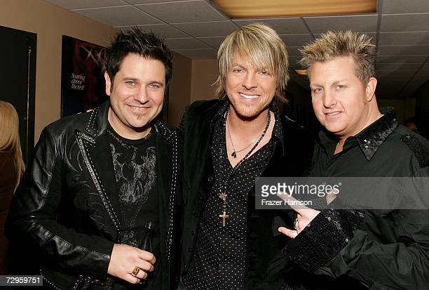 Jay DeMarcusJoe Don Rooney and Gary LeVox of Rascal Flatts backstage during the 33rd Annual People's Choice Awards held at the Shrine Auditorium on...