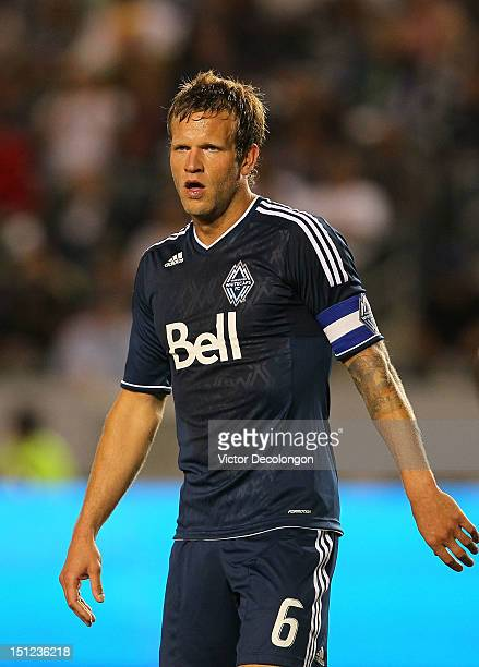 Jay DeMerit of the Vancouver Whitecaps gets in position prior to a cornerkick during the MLS match against the Los Angeles Galaxy at The Home Depot...