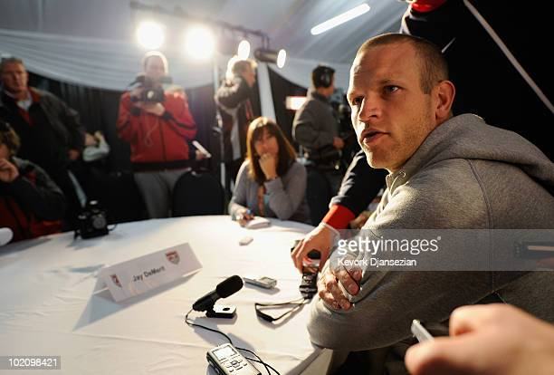 Jay DeMerit of US national football team speaks during a news conference at Irene Fram on June 15 2010 in Irene near Pretoria South Africa US will...