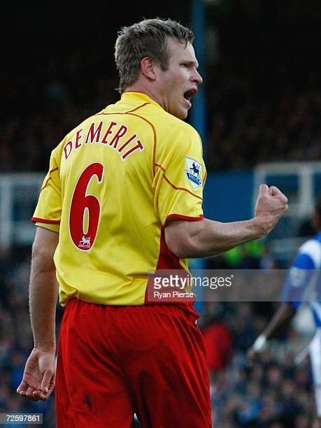 Jay DeMerit of Watford celebrates after he scored his team's first goal during the Barclays Premiership match between Portsmouth and Watford at...