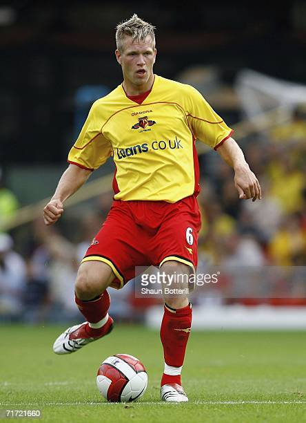 Jay DeMerit of Watford during the Barclays Premiership match between Watford and Manchester United at Vicarage Road on August 26 2006 in Watford...