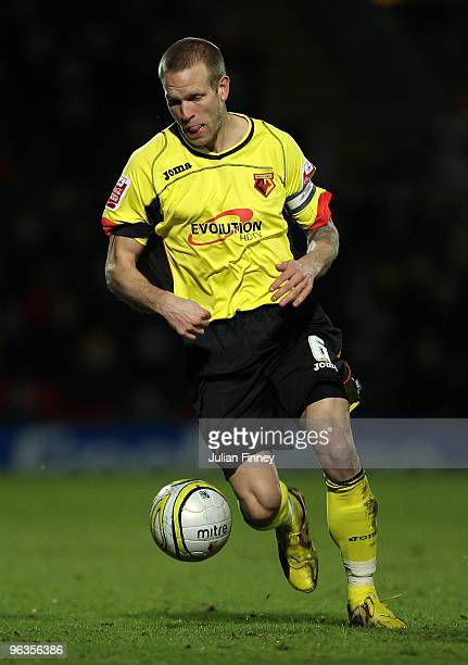 Jay DeMerit of Watford in action during the CocaCola Championship match between Watford and Sheffield United at Vicarage Road on February 2 2010 in...