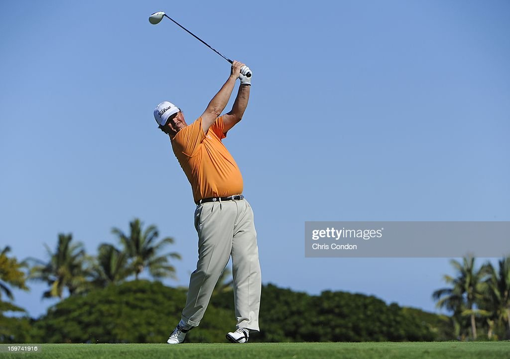 Jay Don Blake plays from the second tee during the second round of the Mitsubishi Electric Championship at Hualalai Golf Club on January 19, 2013 in Ka'upulehu-Kona, Hawaii.