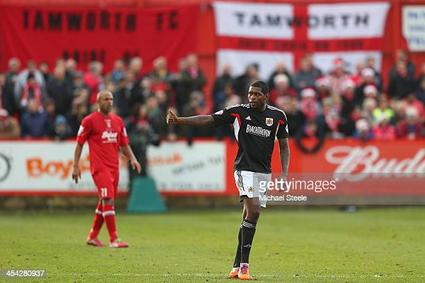Jay EmmanuelThomas of Bristol City gives the thumbs up after his opening goal during the FA Cup Second Round match between Tamworth and Bristol City...