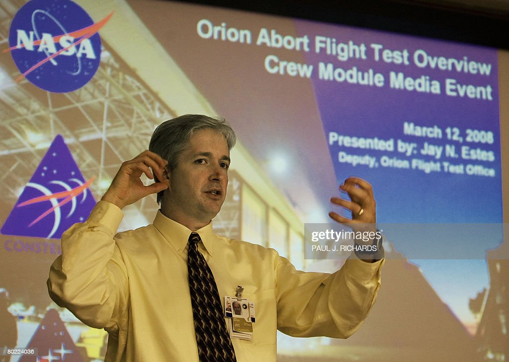 Jay Estes, Deputy, Orion Flight Test Office, NASA Johnson Space Center in Houston, TX, briefs reporters on the Constellation Program's Orion crew module under development March 12, 2008 at the NASA Langley Research Center in Hampton, Virginia. The simulated Orion space capsule, similar in look to those of the Apollo program, will have a series tests including the spacecrafts' astronaut escape system with an 'abort flight test' in late 2008 at the White Sands Missile Range in New Mexico. AFP Photo/Paul J. Richards
