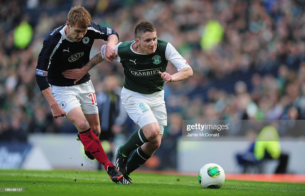 Jay Fulton of Falkirk battles with Paul Cairney of Hibernian during The William Hill Scottish Cup Semi Final between Falkirk and Hibernian at Hampden Park on April 13, 2013 in Glasgow, United Kingdom.