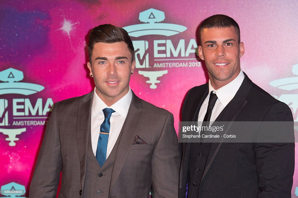 Jay Gardner (R) and James Tindale attend the MTV EMA's 2013 at the Ziggo Dome in Amsterdam, Netherlands.