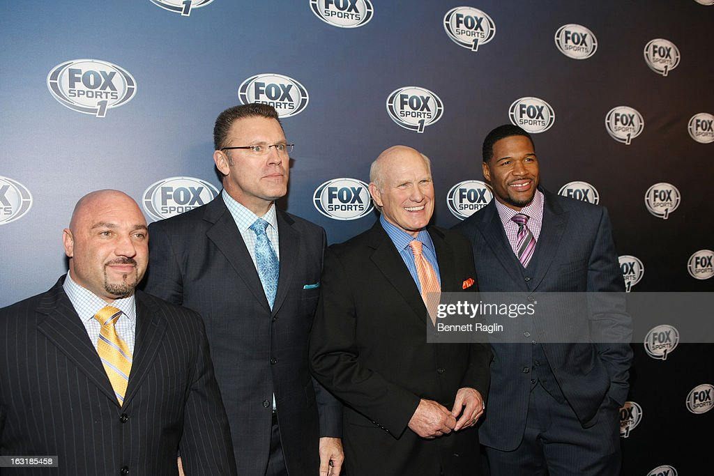 Jay Glazer, Howie Long, Terry Bradshaw, and <a gi-track='captionPersonalityLinkClicked' href=/galleries/search?phrase=Michael+Strahan&family=editorial&specificpeople=210563 ng-click='$event.stopPropagation()'>Michael Strahan</a> attend the 2013 Fox Sports Media Group Upfront after party at Roseland Ballroom on March 5, 2013 in New York City.