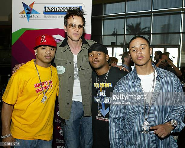 Jay Gordon of Orgy with B2K during Westwood One Backstage at the GRAMMYS at Staples Center in Los Angeles California United States