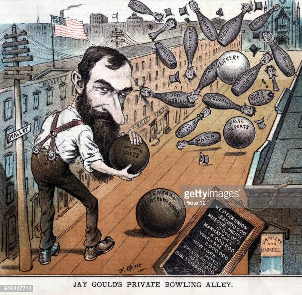 Jay Gould's private bowling alley by Frederick Burr Opper 18571937 artist Dated 1882 Print showing Jay Gould bowling on Wall Street using bowling...