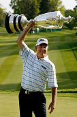 Jay Haas holds the Alfred S Bourne trophy after winning the 69th Senior PGA Championship at Oak Hill Country Club East Course on May 25 2008 in...