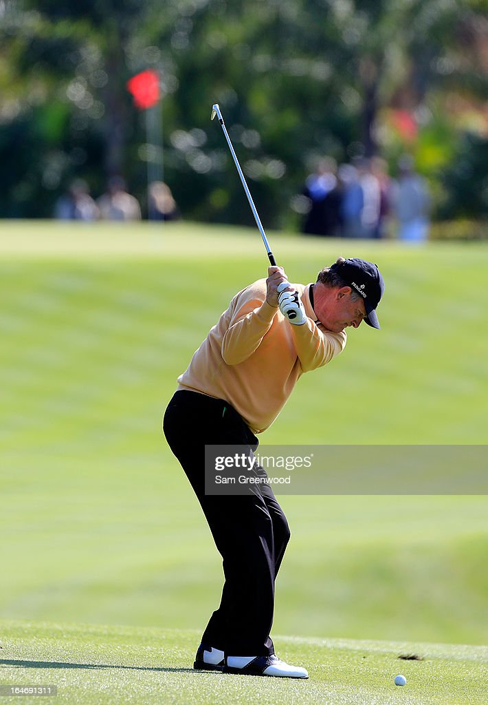 Jay Haas of Team Primeland plays a shot during the second day of the Tavistock Cup at the Isleworth Golf and Country Club on March 26, 2013 in Windermere, Florida.