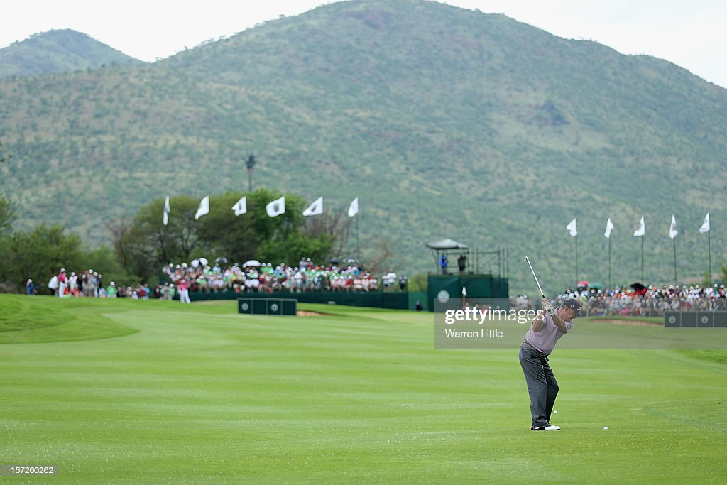 Jay Haas of the USA plays his second shot into first green during the third round of the Nedbank Champions Challenge at the Gary Player Country Club on December 1, 2012 in Sun City, South Africa.