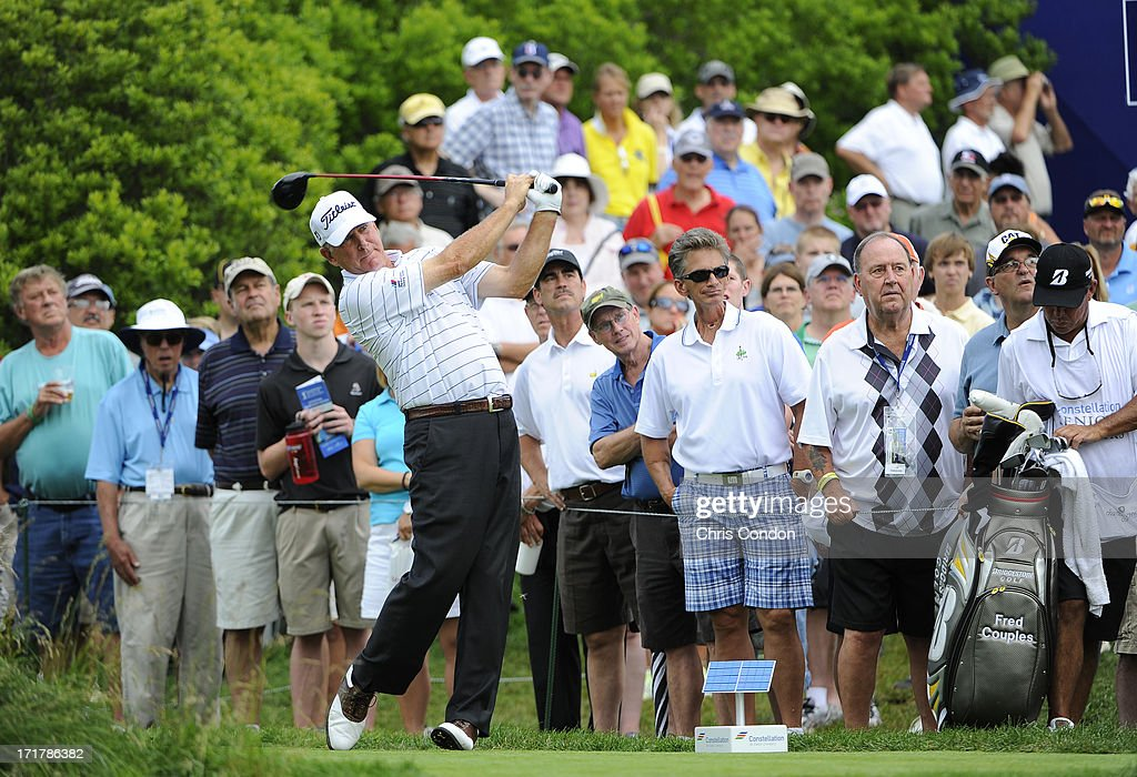 <a gi-track='captionPersonalityLinkClicked' href=/galleries/search?phrase=Jay+Haas&family=editorial&specificpeople=204209 ng-click='$event.stopPropagation()'>Jay Haas</a> plays from the 18th tee during the second round of the Constellation SENIOR PLAYERS Championship at Fox Chapel Golf Club on June 28, 2013 in Pittsburgh, Pennsylvania.