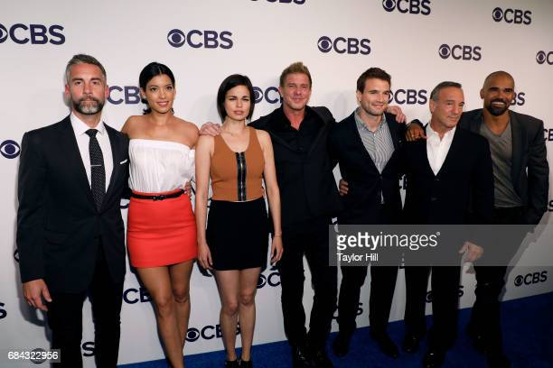 Jay Harrington Stephanie Sigman Lina Esco Kenny Johnson Alex Russell Peter Onorati and Shemar Moore attend the 2017 CBS Upfront on May 17 2017 in New...