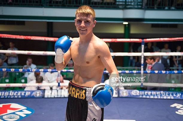 Jay Harris celebrates after defeating Tibor Nador in a Super Bantamweight contest at York Hall on July 17 2015 in London England