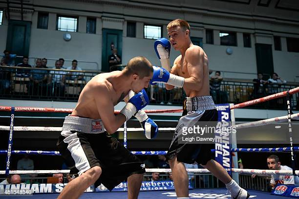 Jay Harris exchanges punches with Tibor Nador during their Super Bantamweight contest at York Hall on July 17 2015 in London England