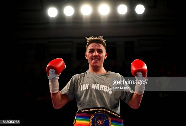 Jay Harris of Great Britain celebrates victory over Thomas Essomba of Cameroon during the Commonwealth Flyweight Championship at York Hall on...