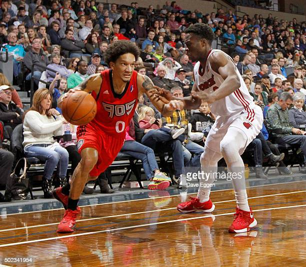 Jay Harris of the Raptors 905 drives to the basket against Bubu Palo of the Sioux Falls Skyforce at the Sanford Pentagon December 22 2015 in Sioux...