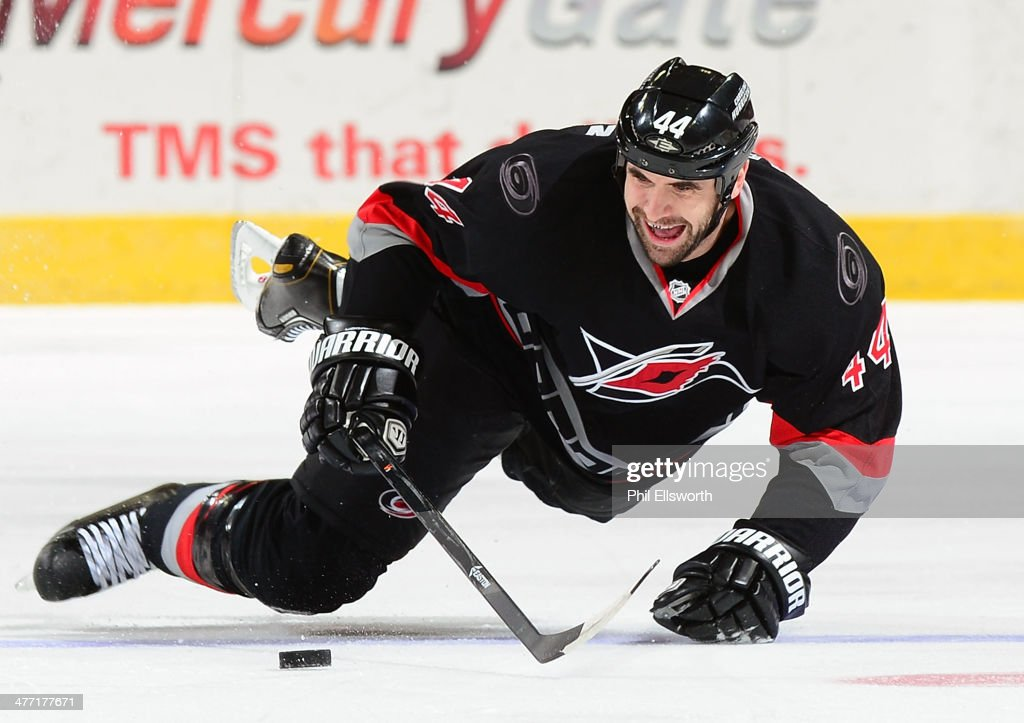 <a gi-track='captionPersonalityLinkClicked' href=/galleries/search?phrase=Jay+Harrison&family=editorial&specificpeople=714374 ng-click='$event.stopPropagation()'>Jay Harrison</a> #44 of the Carolina Hurricanes attempts to control the puck as he falls to the ice during an NHL game against the New York Rangers on March 7, 2014 at PNC Arena in Raleigh, North Carolina.
