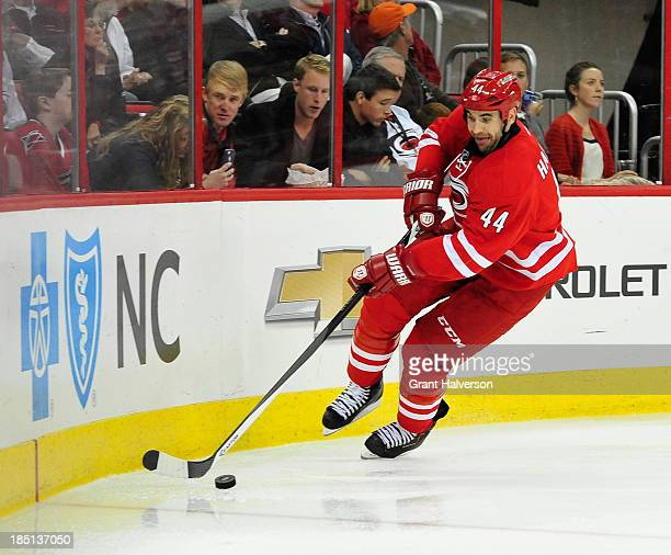 Jay Harrison of the Carolina Hurricanes during play against the Chicago Blackhawks at PNC Arena on October 15 2013 in Raleigh North Carolina The...