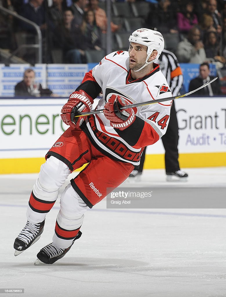 <a gi-track='captionPersonalityLinkClicked' href=/galleries/search?phrase=Jay+Harrison&family=editorial&specificpeople=714374 ng-click='$event.stopPropagation()'>Jay Harrison</a> #44 of the Carolina Hurricanes skates during NHL game action against the Toronto Maple Leafs March 28, 2013 at the Air Canada Centre in Toronto, Ontario, Canada.