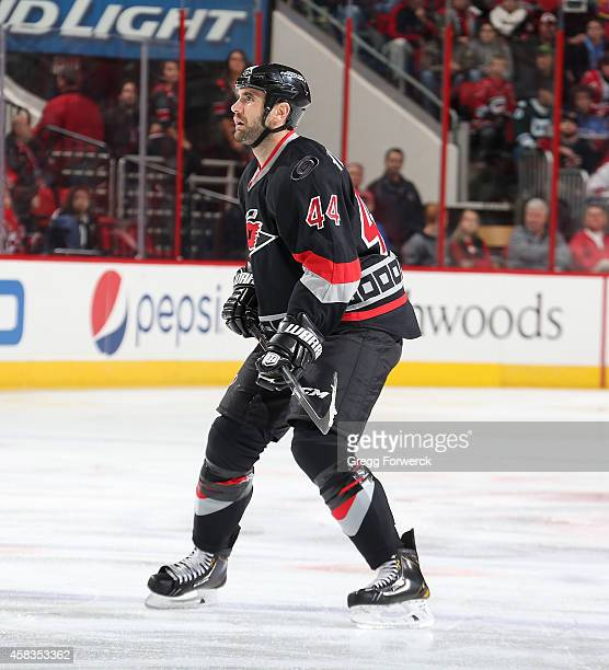 Jay Harrison of the Carolina Hurricanes skates to a defensive position during their NHL game against the Arizona Coyotes at PNC Arena on November 1...